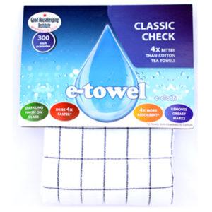 Image E-Cloth Classic Check Tea Towel - Blue
