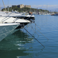Antibes, France - June 30, 2013: luxury yachts in the marina of Antibes on the French Riviera